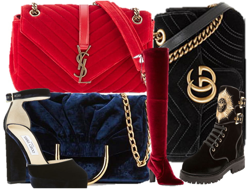 Velvet handbags and the best shoes to match them with