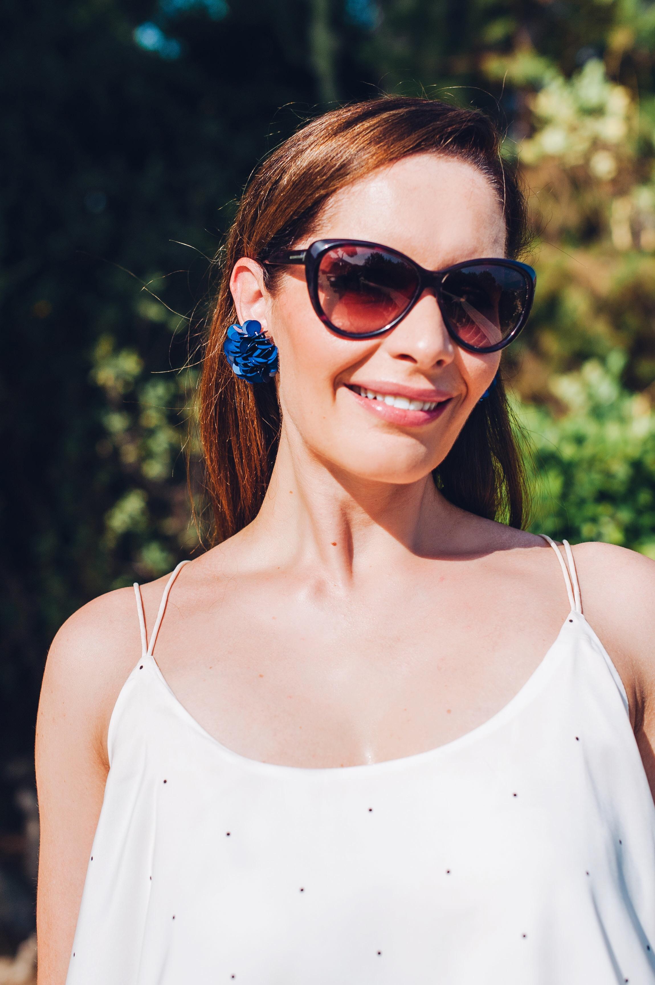 White romper, Mango earrings