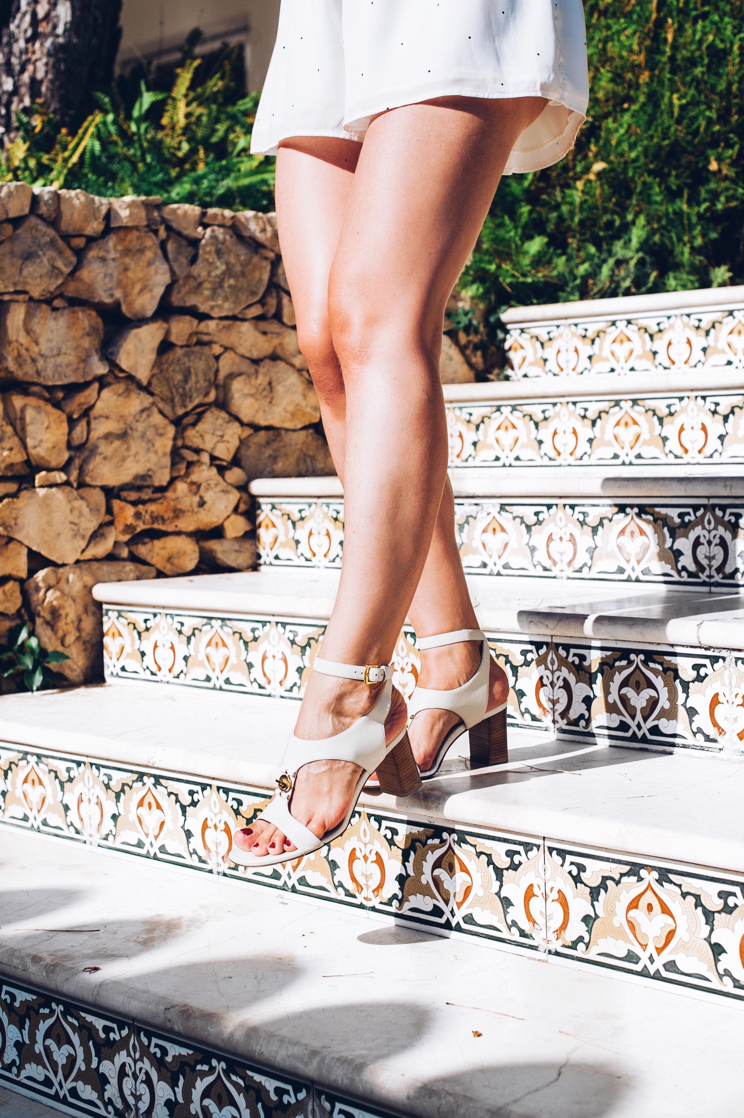 white romper, Loro Piana shoes