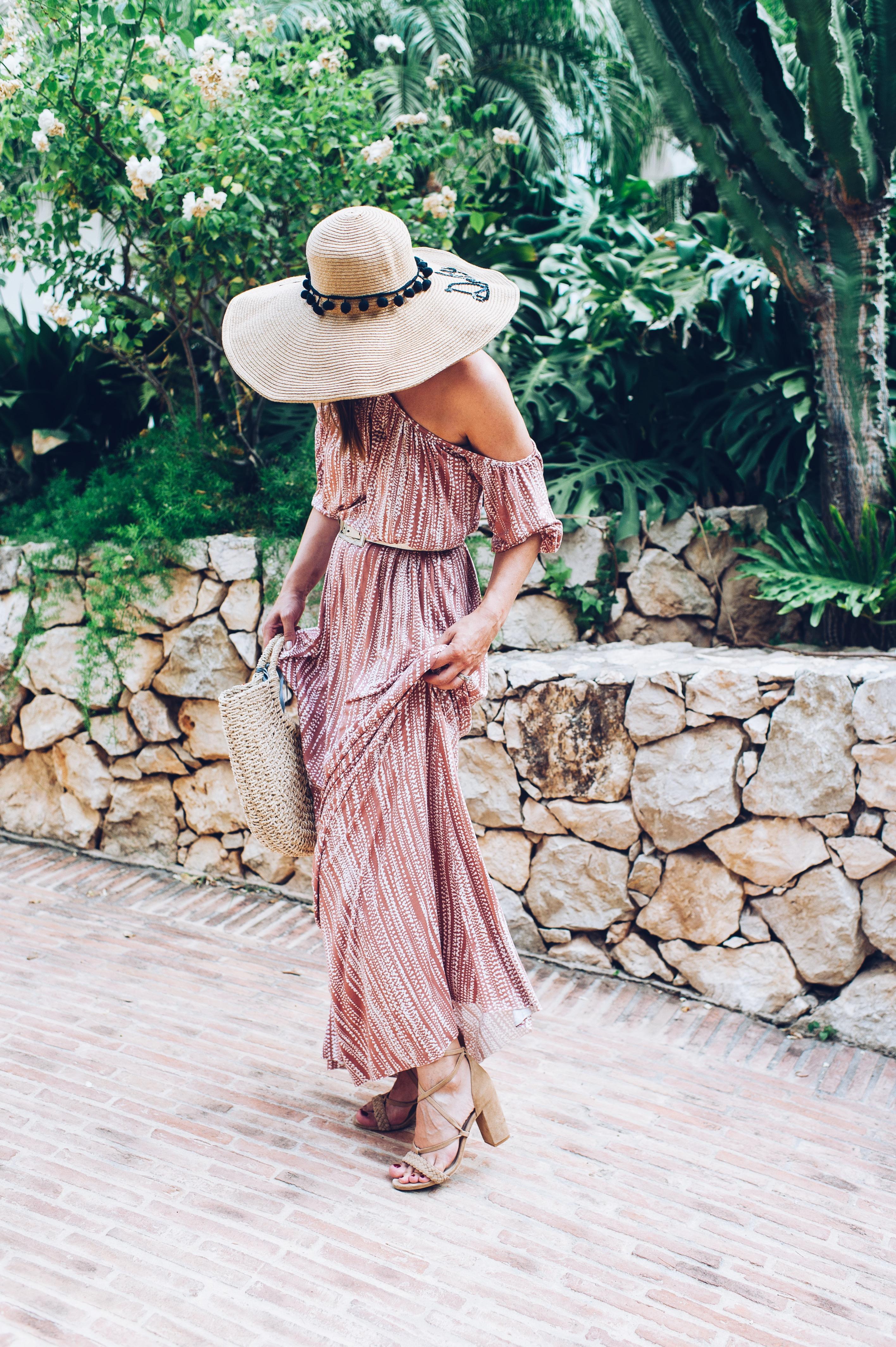 Rachel Pally summer dress, Raye heels, personalised hat