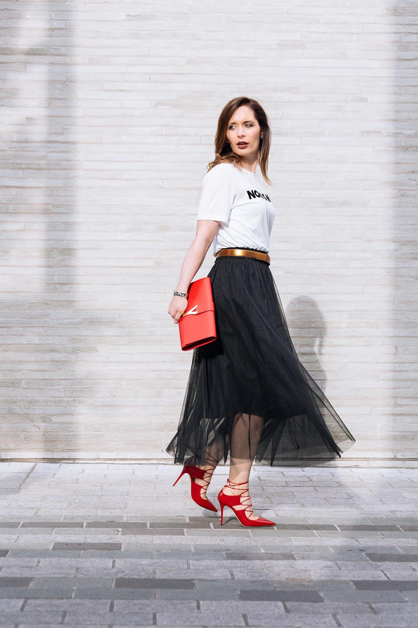 black tulle skirt long