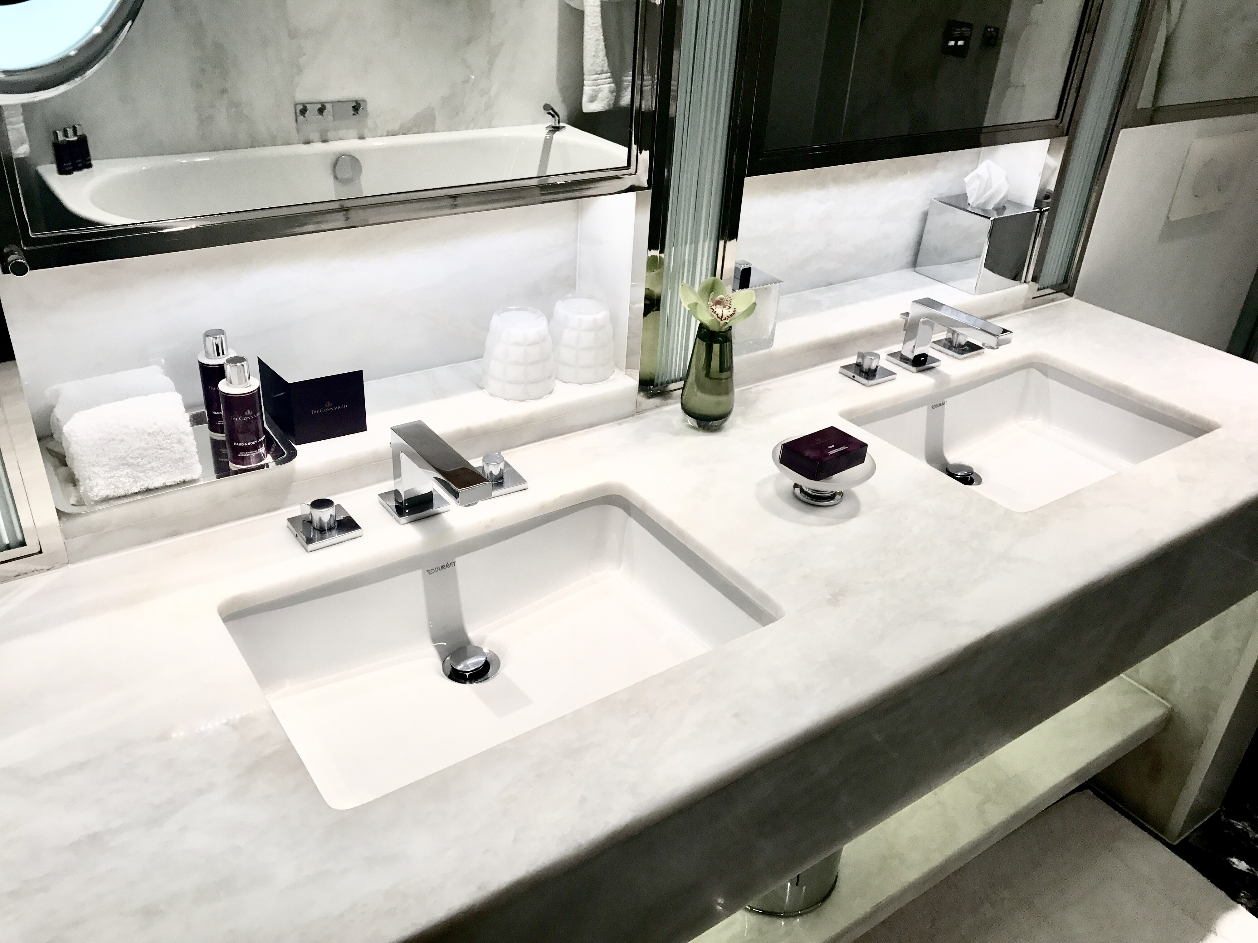 Bathroom at the contemporary section of the Connaught hotel