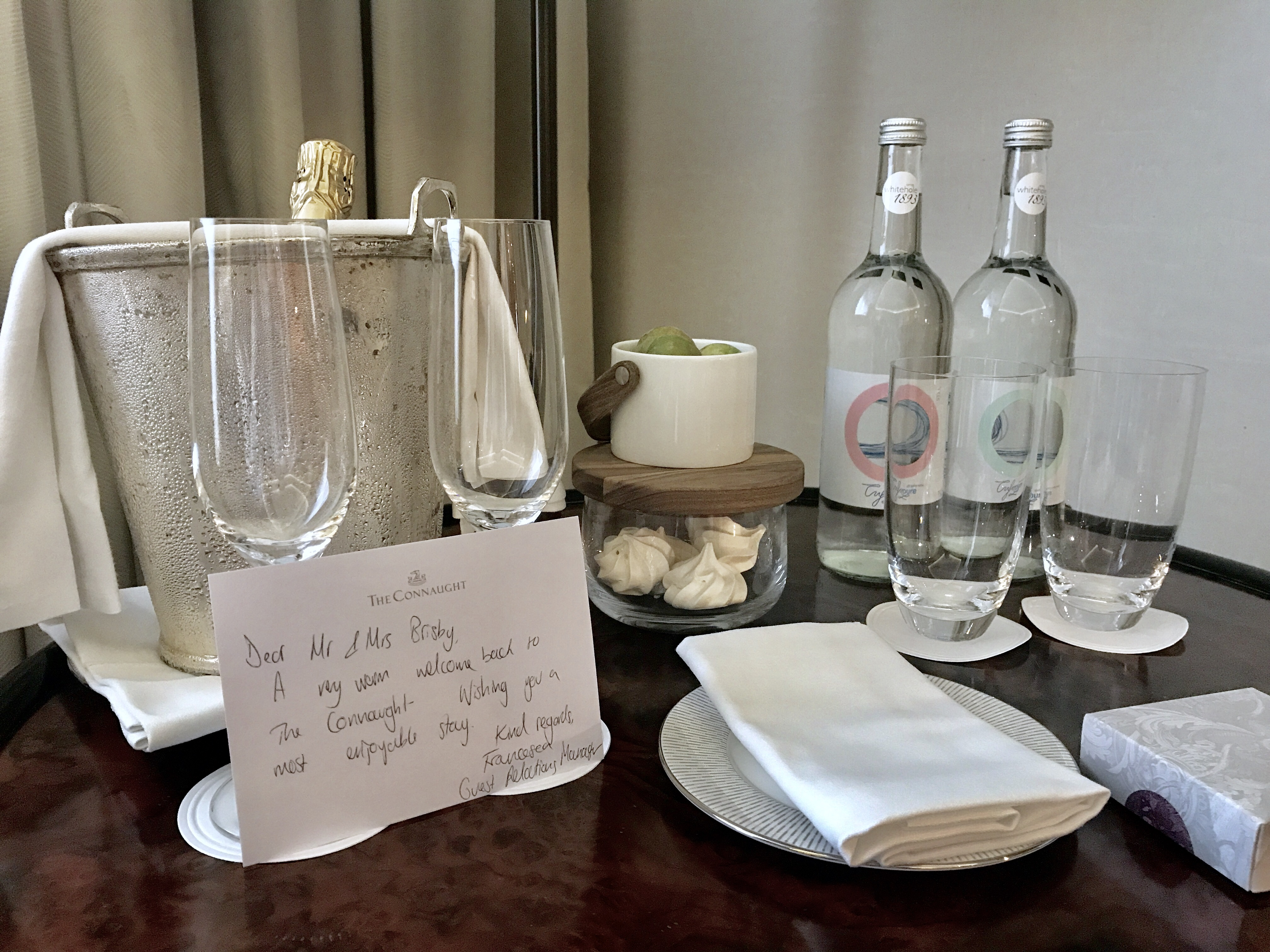 Welcome champagne at The Connaught Hotel