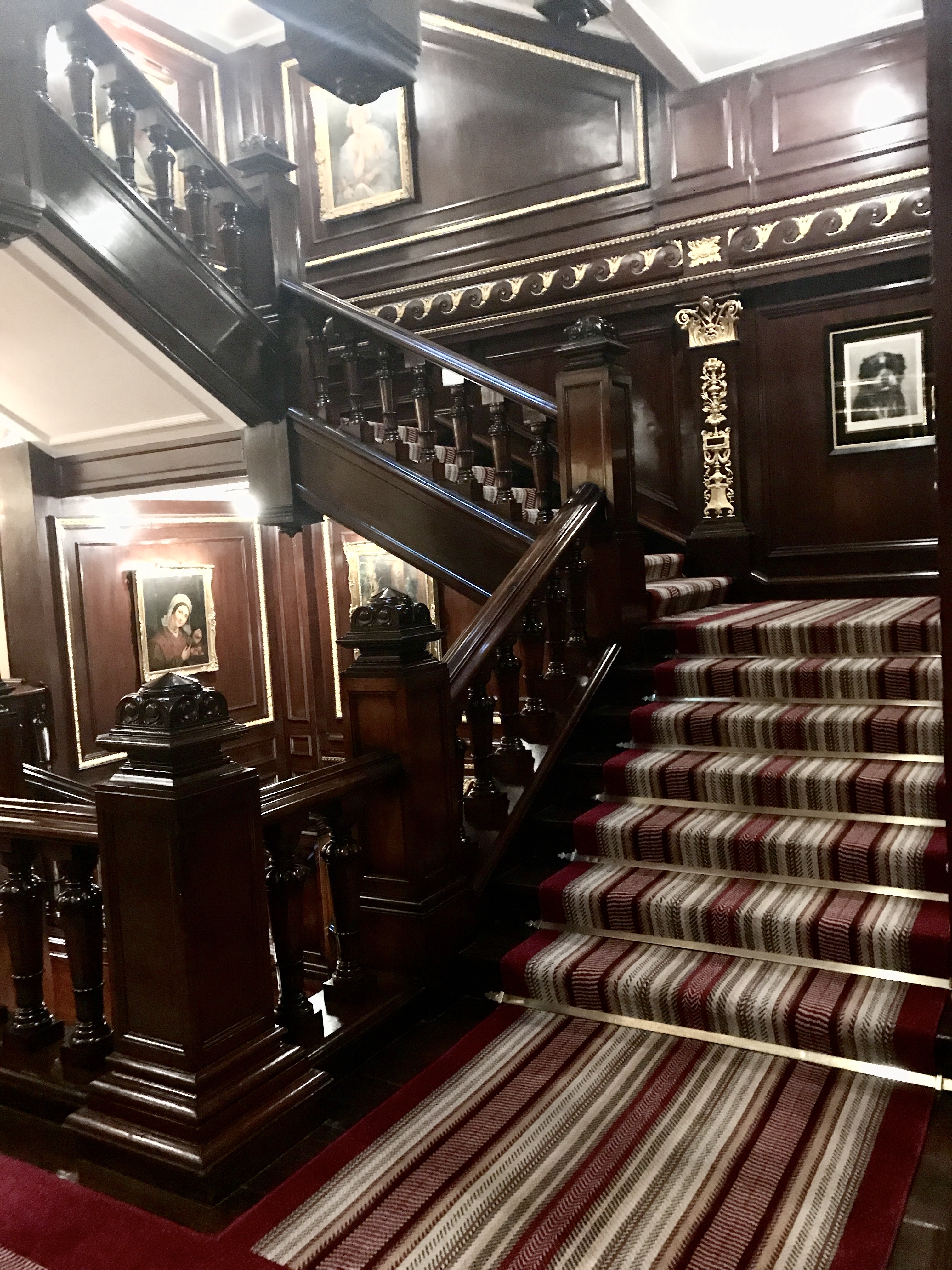 Wooden staircase at The Connaught hotel