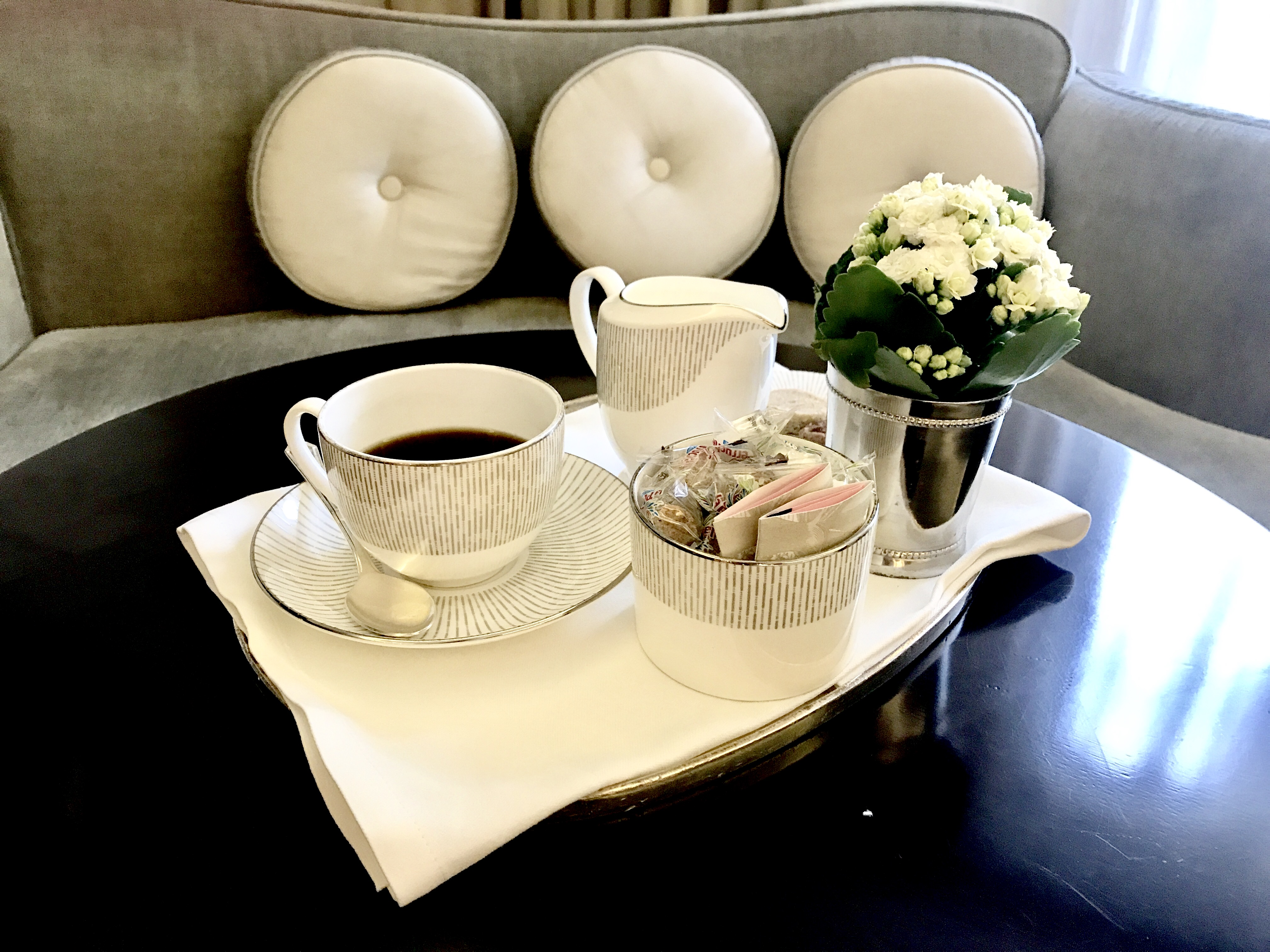 Coffee in the room of The Connaught hotel