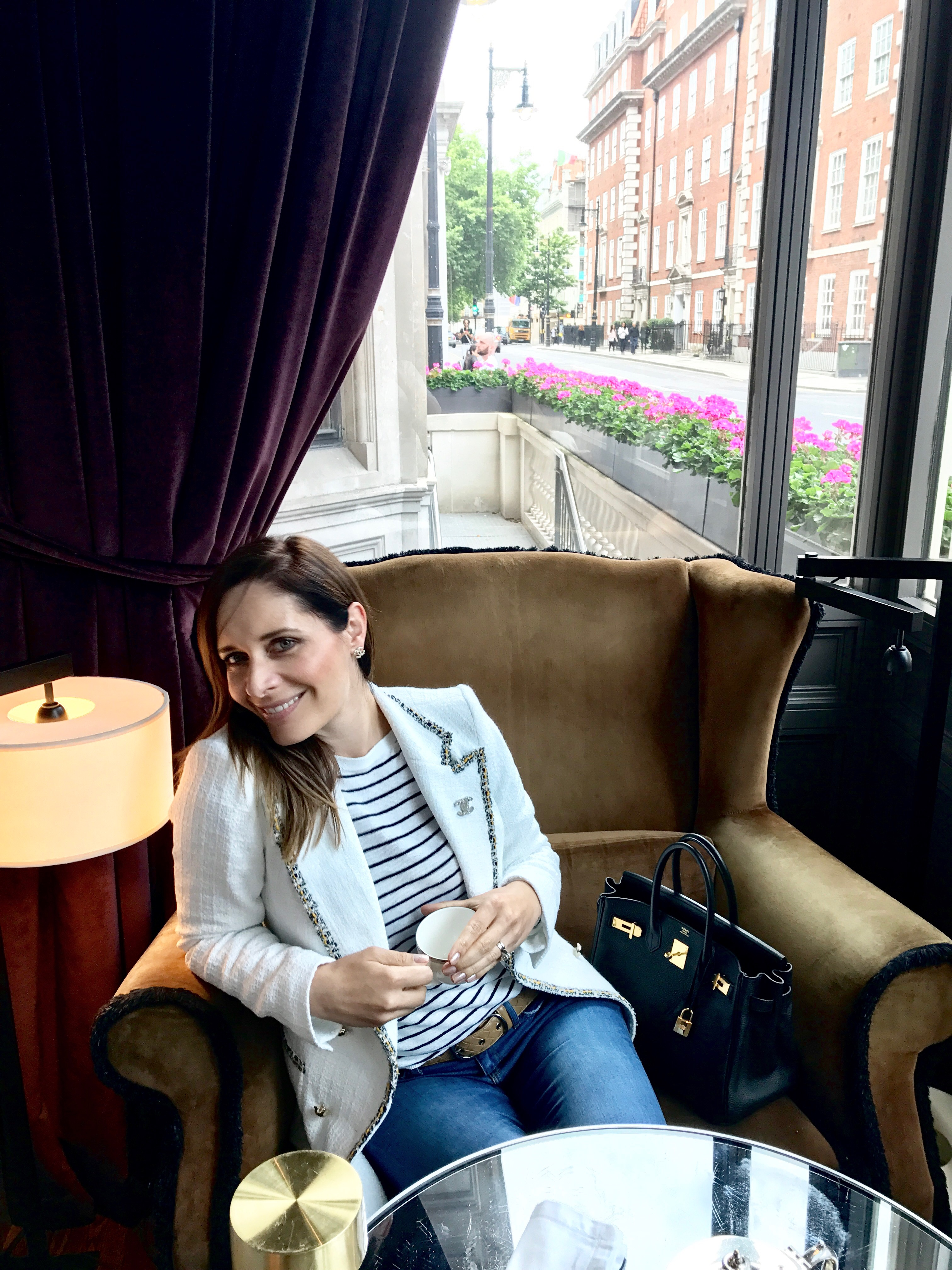 Petra from Chic Journal having tea at Coburg Bar Connaught hotel