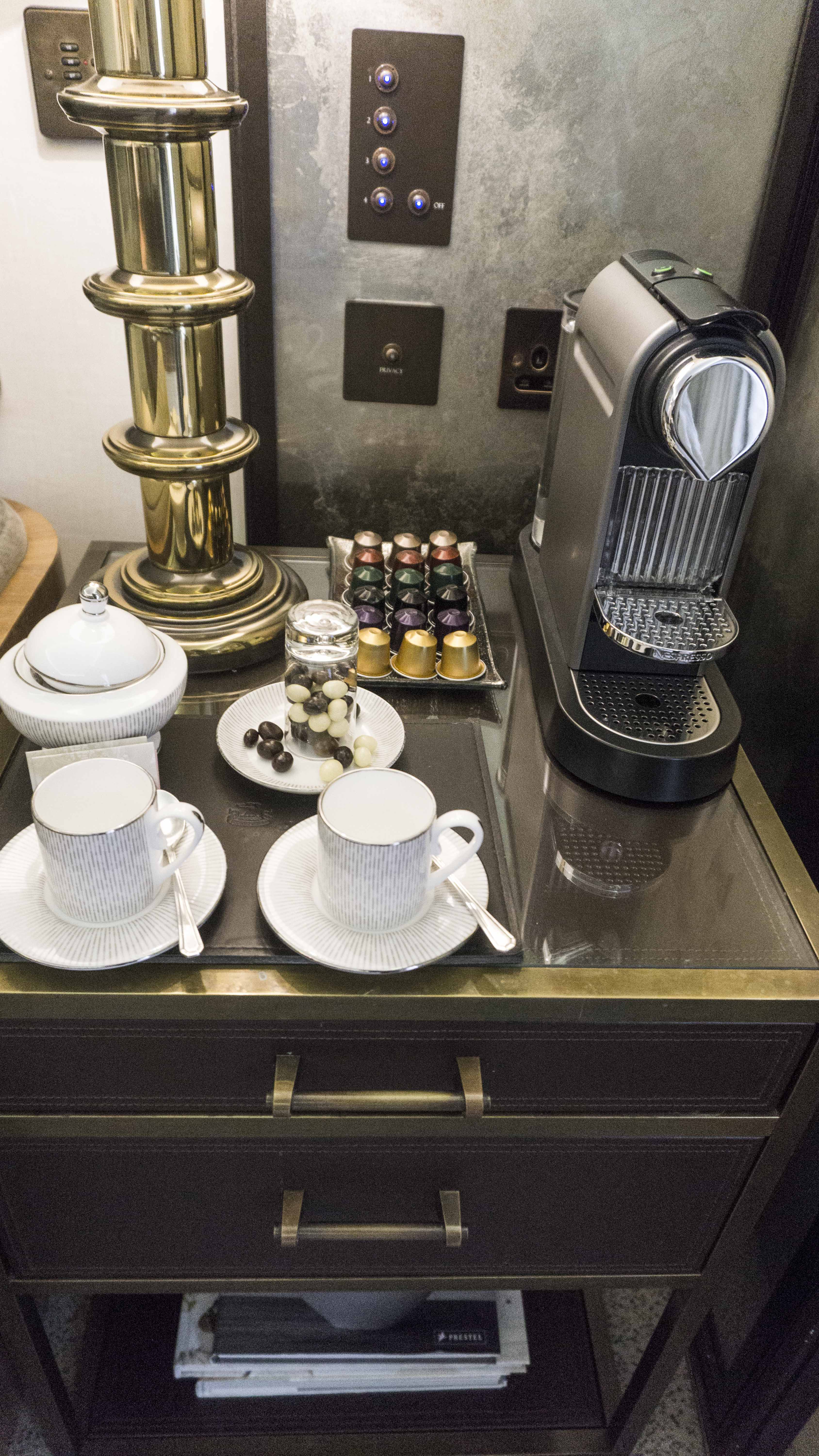 Coffee machine at the Suite at The Connaught hotel