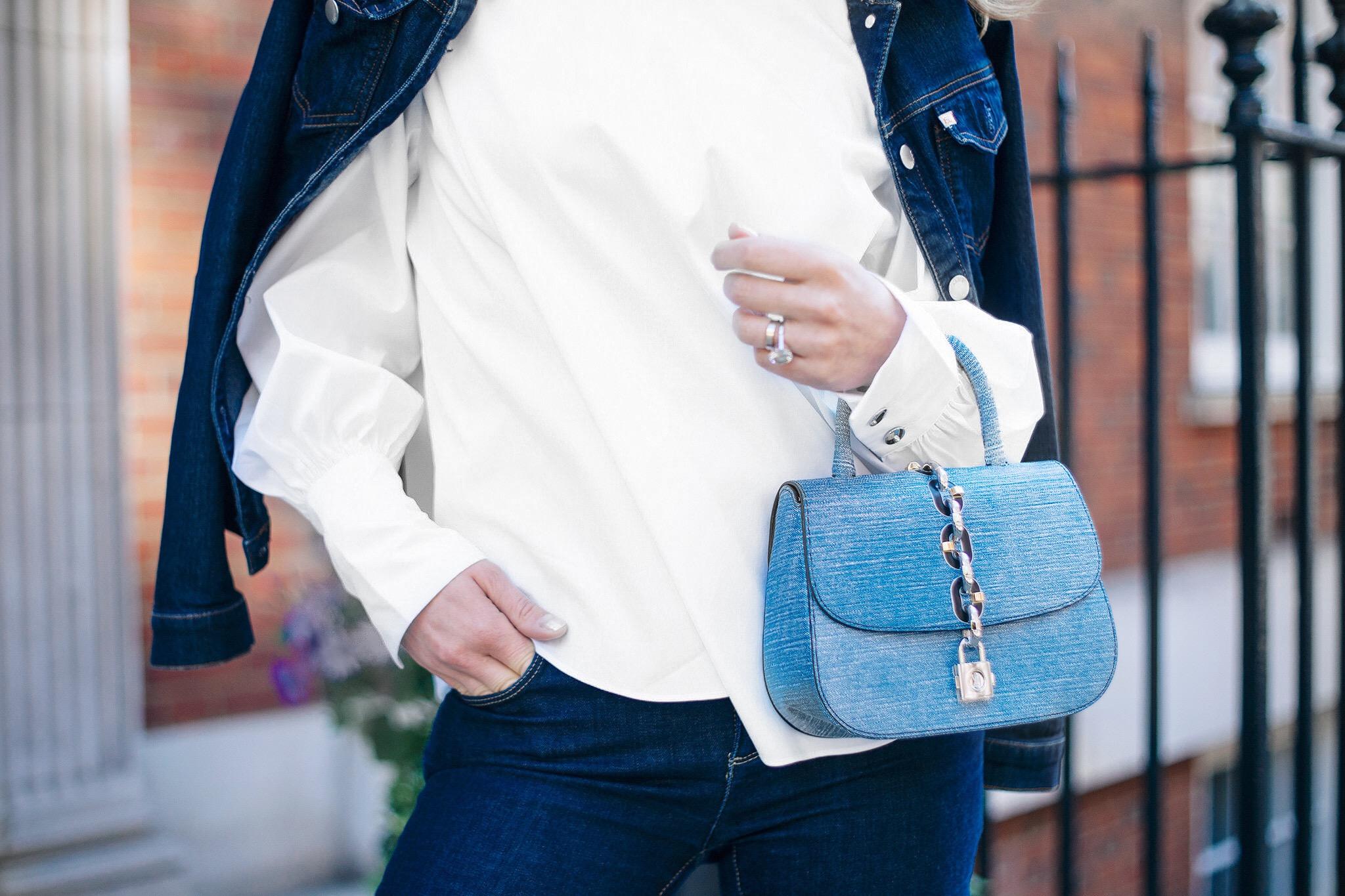 White shirt and denim Louis Vuitton Bag