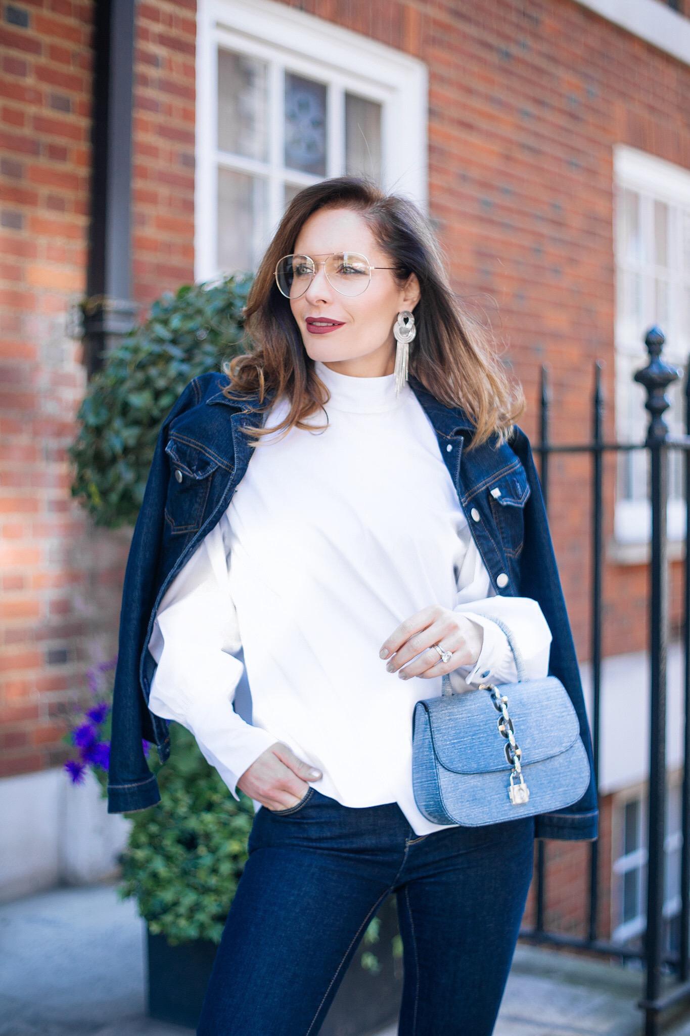 Petra from Chic Journal wears Lara Bohinc earrings and Louis Vuitton Chain It Bag