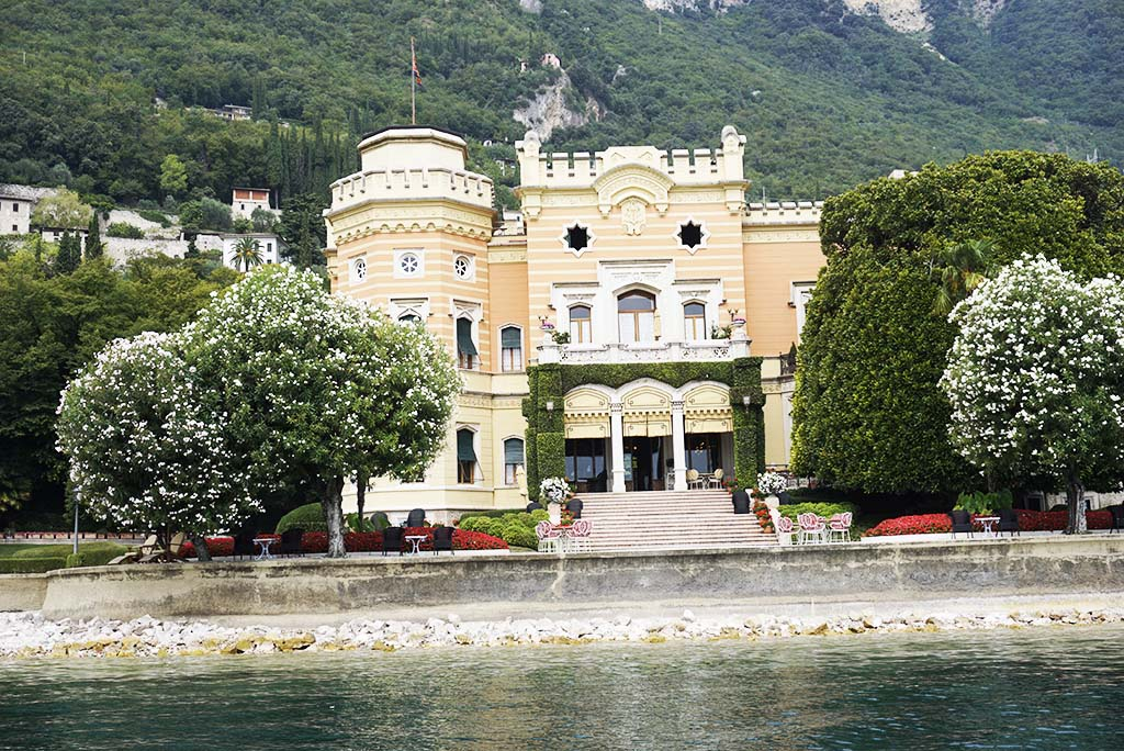 View from the boat at Villa Feltrinelli Lake Garda