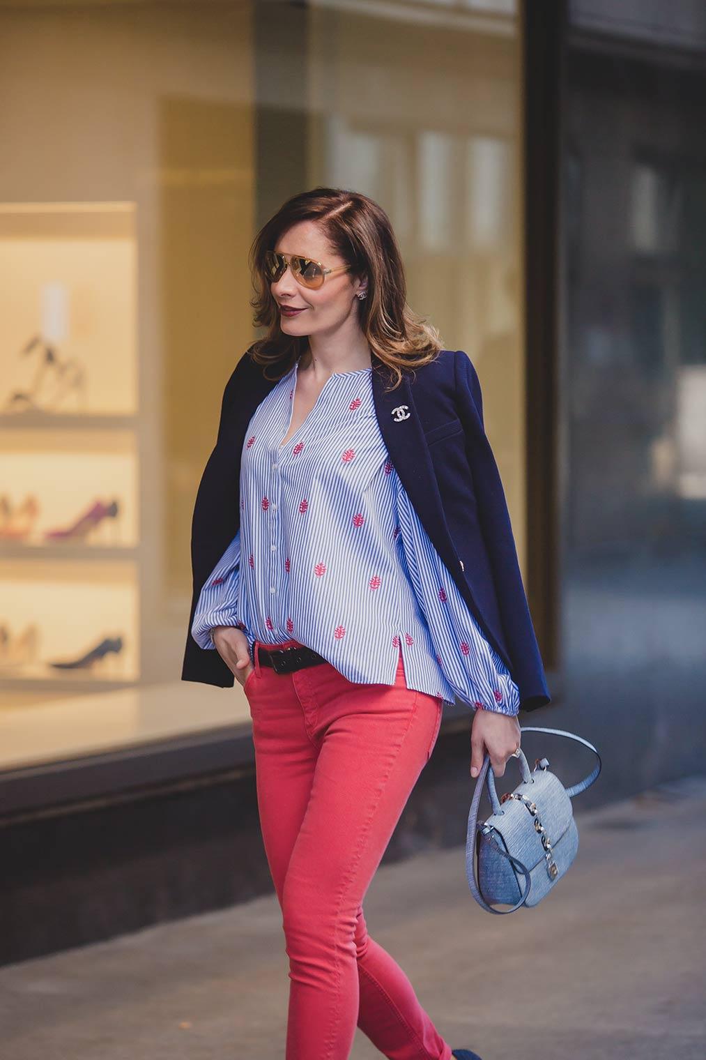 Sandro red jeans with Zara blue blazer
