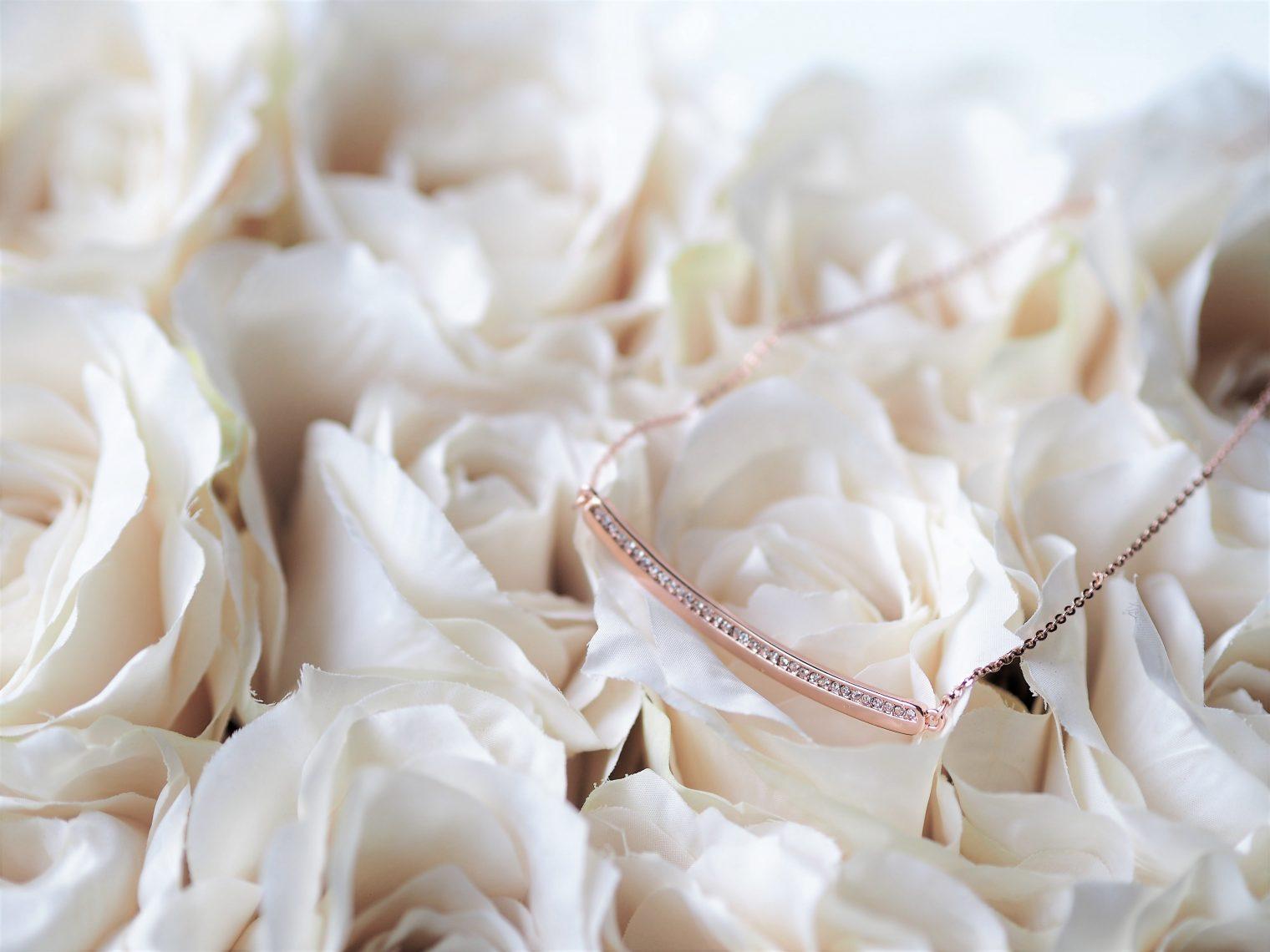 Kaytie Wu rose gold necklace with Swarovski crystals