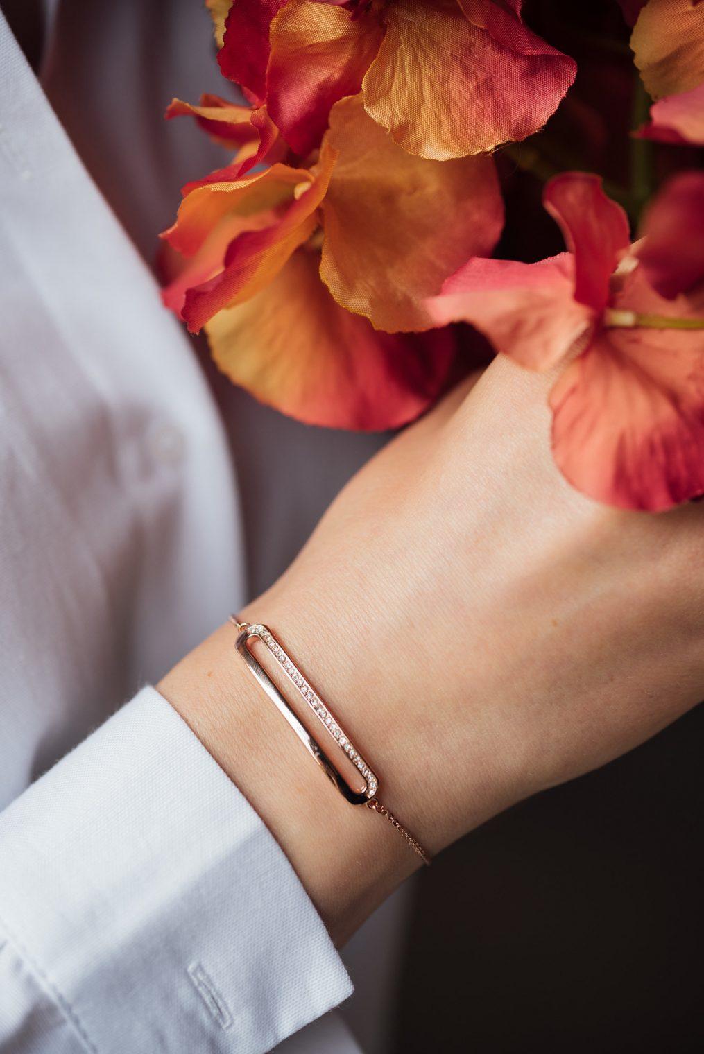 Kaytie Wu rose gold bracelet with Swarovski crystals