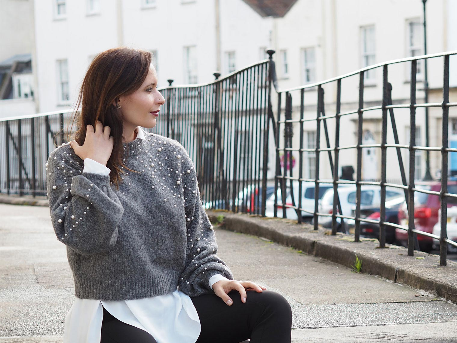 Chic Journal Petra wears pearls embellished grey sweater