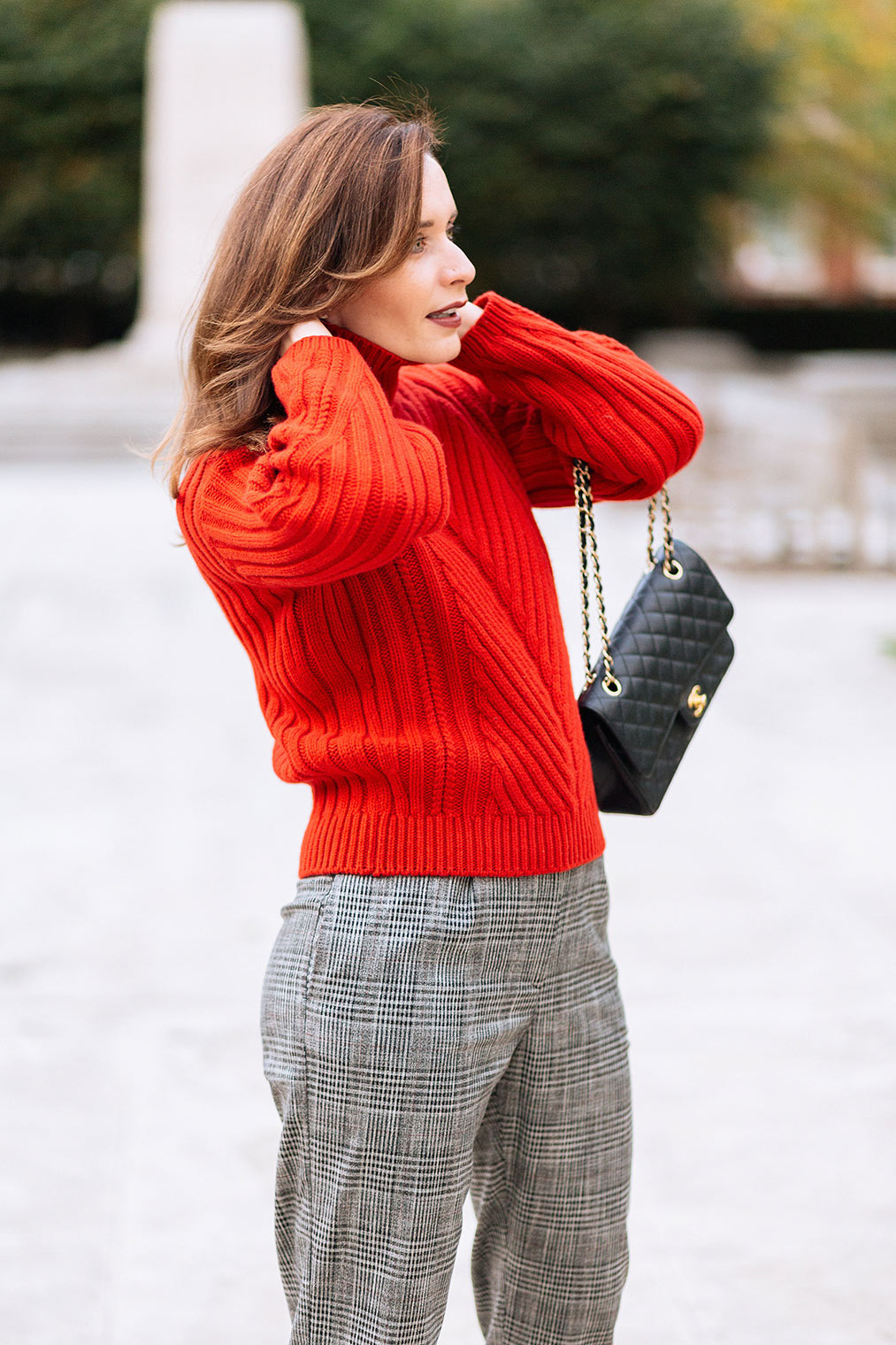 Thick red sweater ideal for winter
