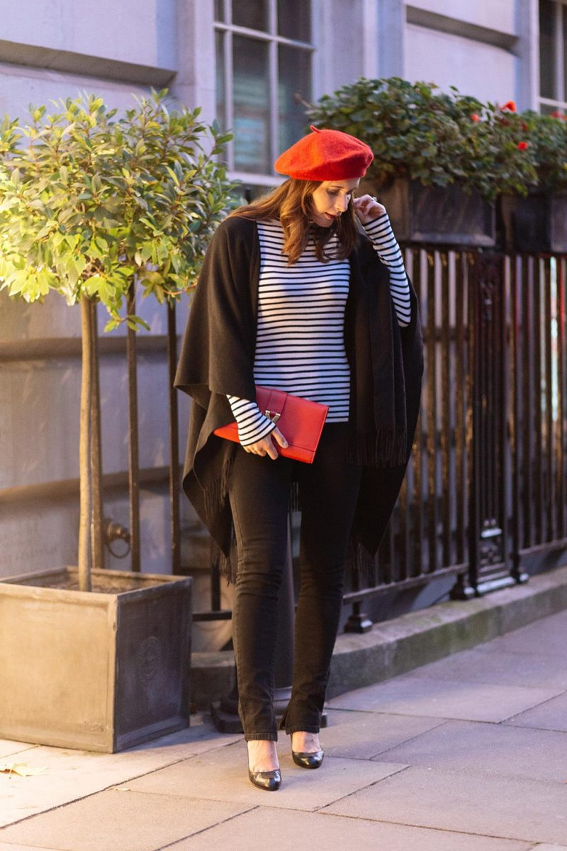 Red beret and black outfit