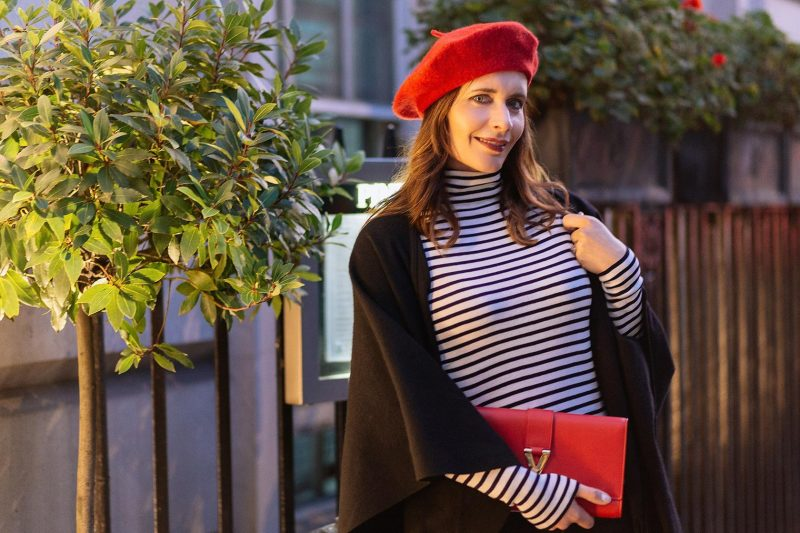 Red beret and YSL clutch