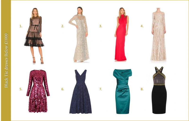 Long dresses for black tie below £1000