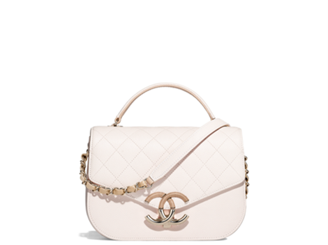White flap bag with top handle Chanel new collection