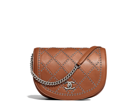 Brown saddle flap bag Chanel new collection