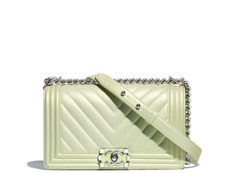 Chanel boy bag green metallic new summer collection 2018