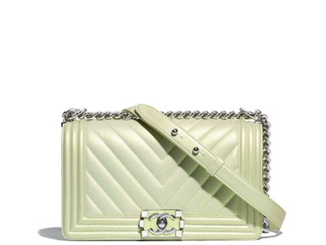 Chanel boy bag green metallic new summer collection 2018