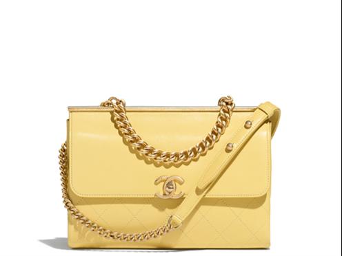 Chanel flap bag yellow