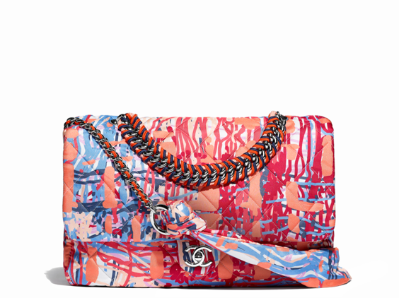 Chanel printed fabric flap bag summer 2018