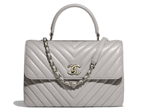 Grey flap bag with top handle Chanel 2018