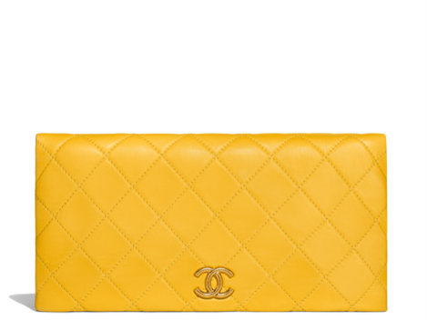 Bright yellow Chanel clutch summer 2018