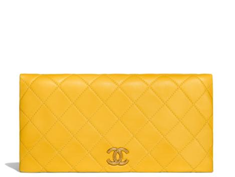 Bright yellow Chanel clutch summer 2018