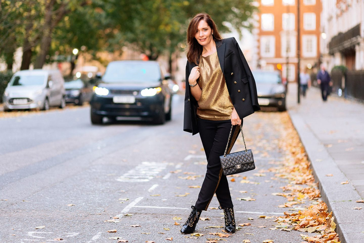 This black jacket with gold top is ideal for your date night out.