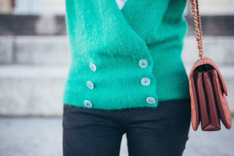 Green cardigan with embellished buttons by Pinko