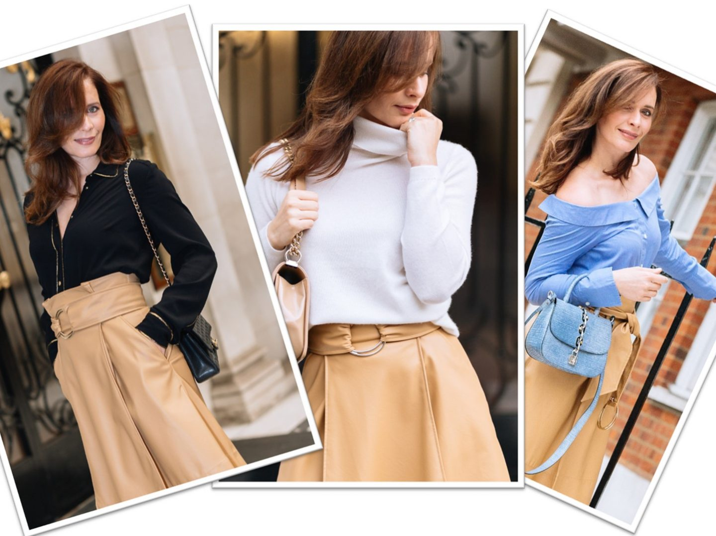 What colours to wear with beige skirt.