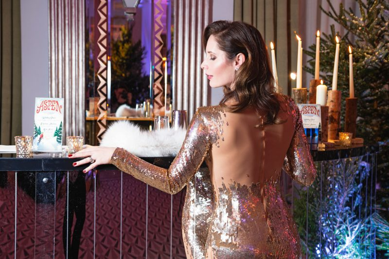 Long sequins dress by Elisabetta Franchi for the Chi Journal's birthday party