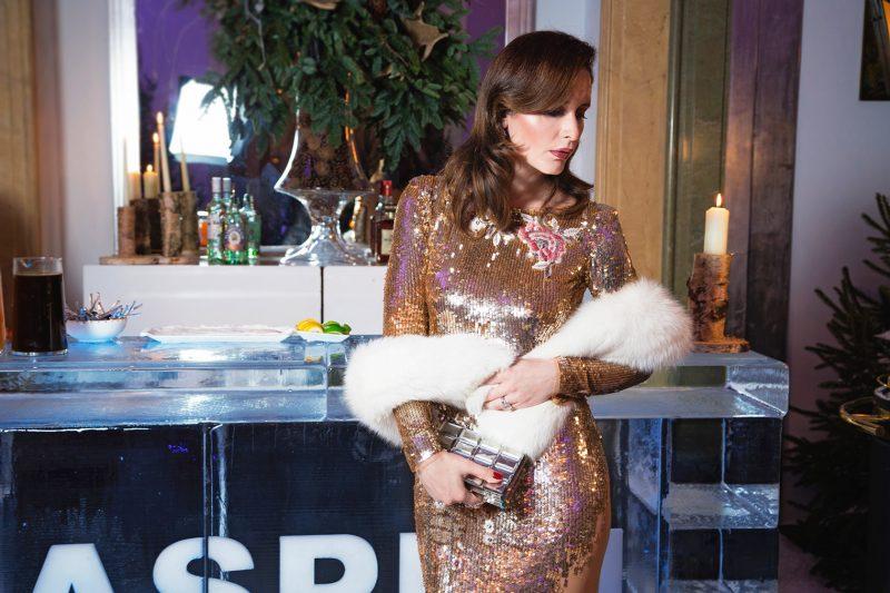 Petra Brisby in Claridges hotel London wearing Elisabetta Franchi sequins dress