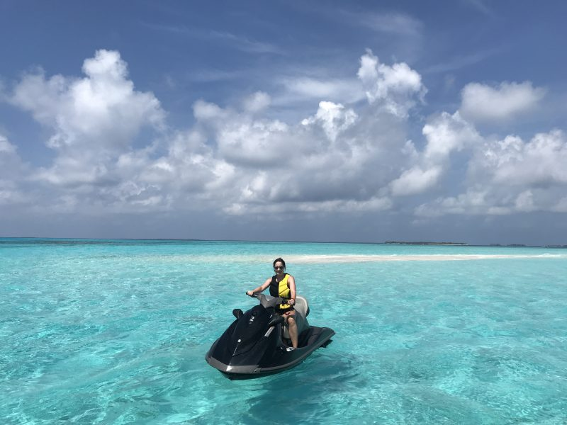 Petra Brisby from CHic Journal at Cheval Blanc Maldives jetski