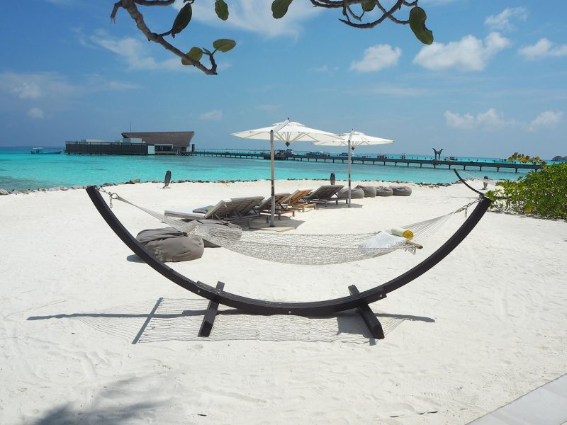 Hammock on the beach at the Cheval Blanc Maldives