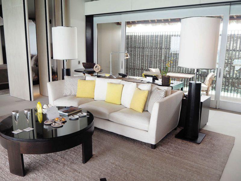 Cheval Blanc Randheli water villa sitting room