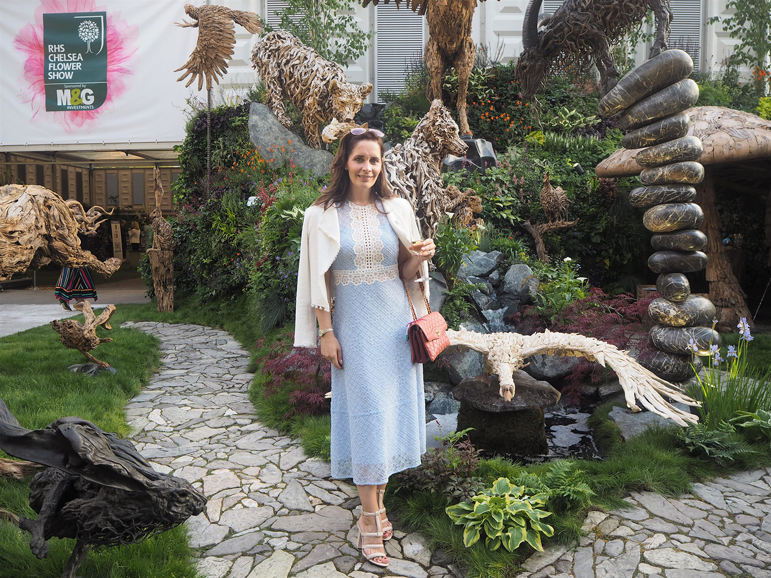 Petra from Chic Journal blog at Chelsea flower show wearing Sandro dress
