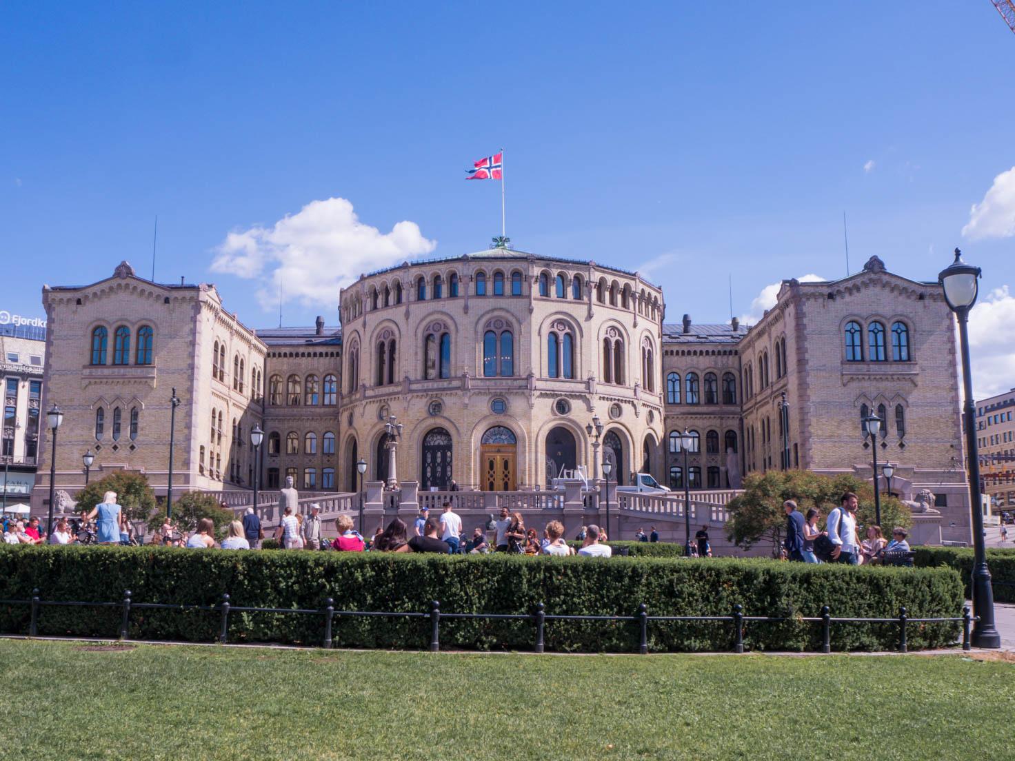 Parliament building in Oslo, Norway