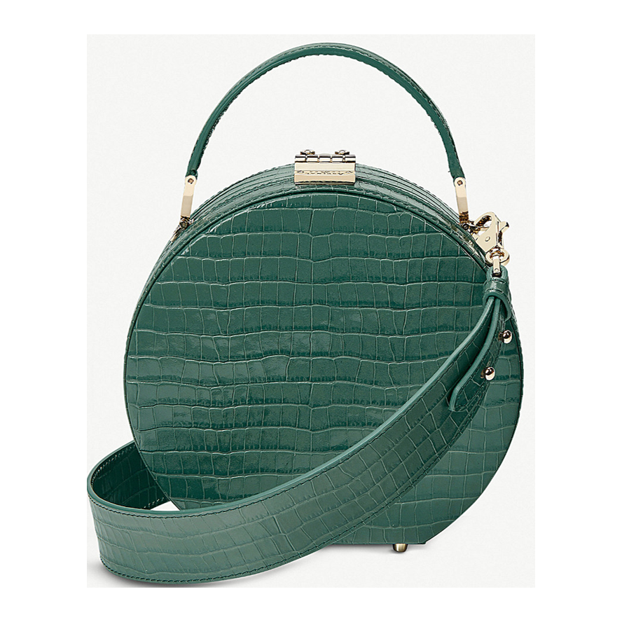 ASPINAL OF LONDON Hat Box mini round crocodile-embossed leather handbag