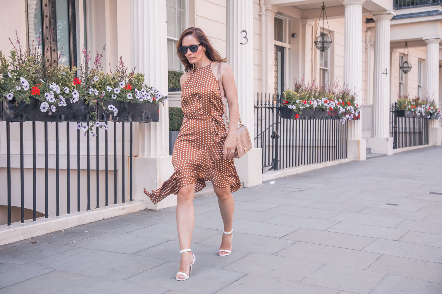 Brown polka dot dress and Chanel boy bag by Chic Journal blog