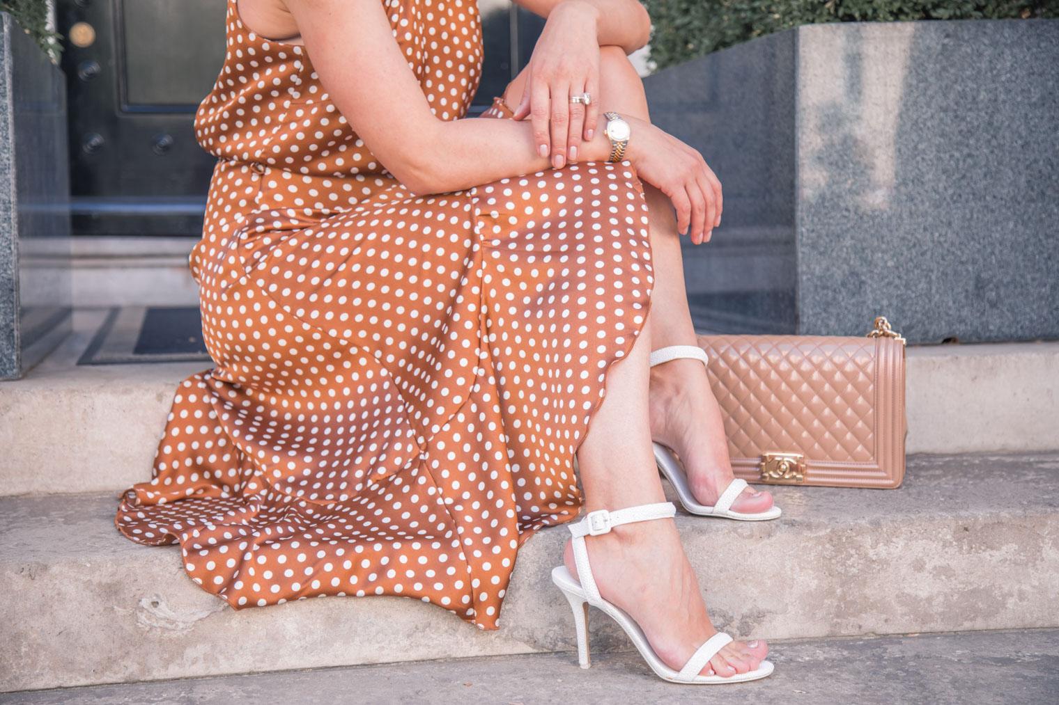 Polka dot dress and Chanel boy handbag