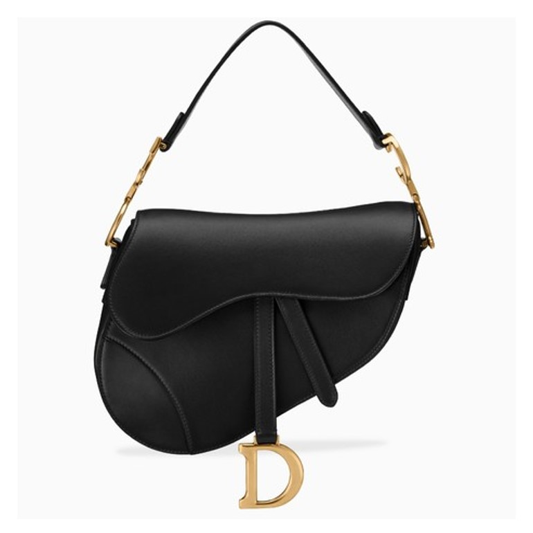 Dior saddle bag in black leather and gold hardware
