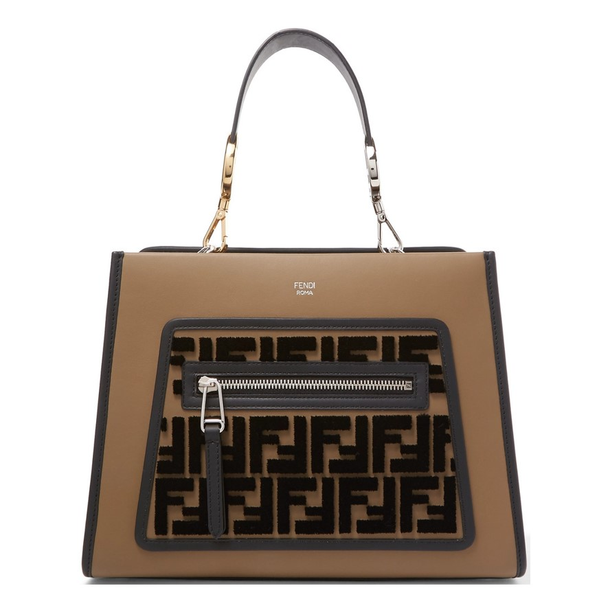 Best work bags Fendi Runaway small flocked leather tote