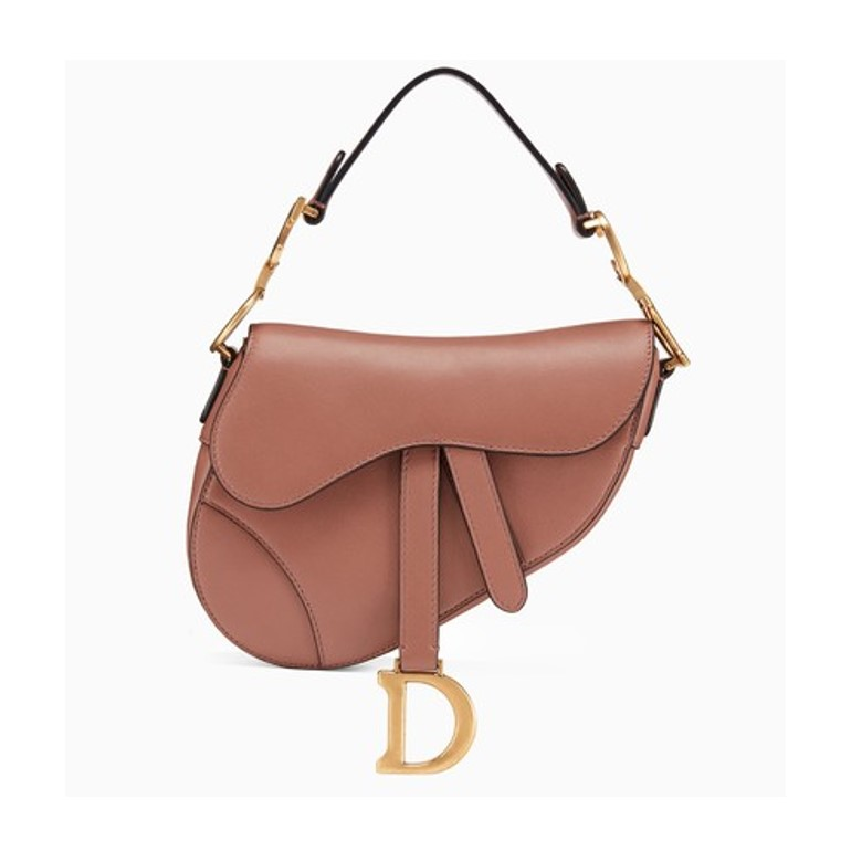 Mini Dior saddle bag in pink leather