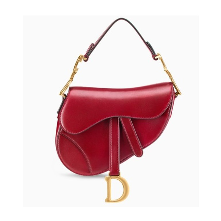 Mini Dior saddle bag in red calfskin leather
