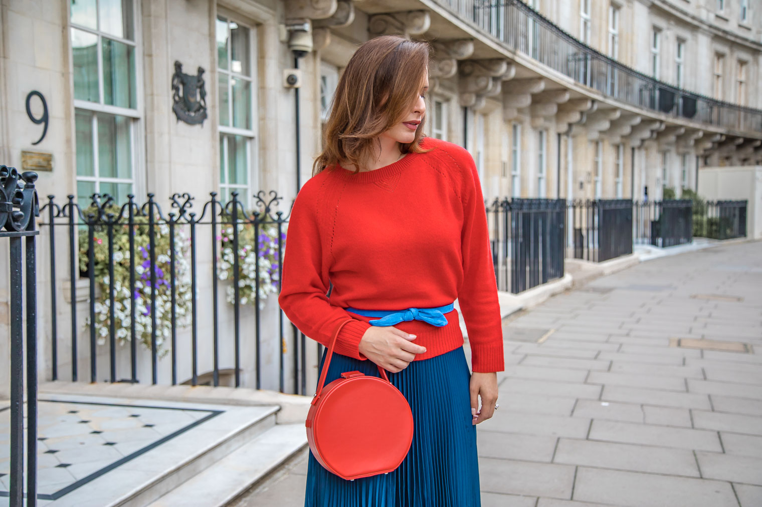 How to wear Tara Jarmon pleated maxi skirt with a sweater