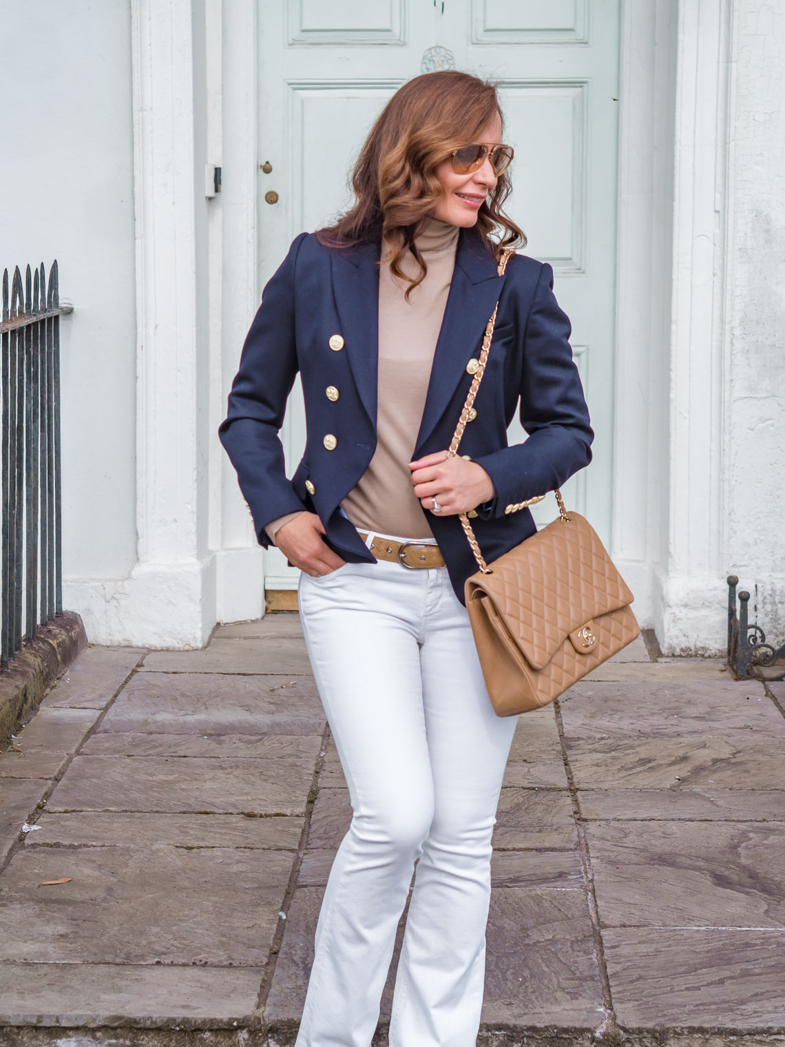 Chic look inspiration Holland Cooper navy blue jacket beige roll neck sweater white flare jeans
